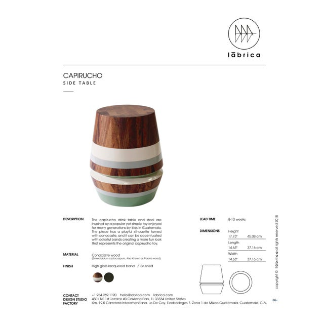 Capirucho Side Table & Stool Lacquered Bands For Sale In Miami - Image 6 of 7
