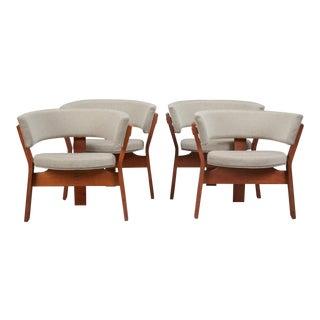 1960s Vintage Teak Barrel Chair- Set of 4 For Sale