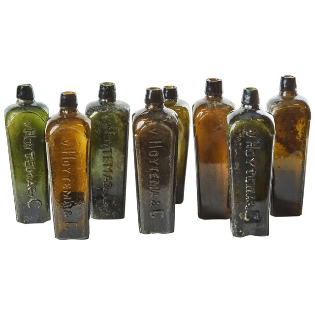 Glass Set of 8 Multi-Color Gin Glass Bottles From Mid-Century Germany For Sale - Image 7 of 7