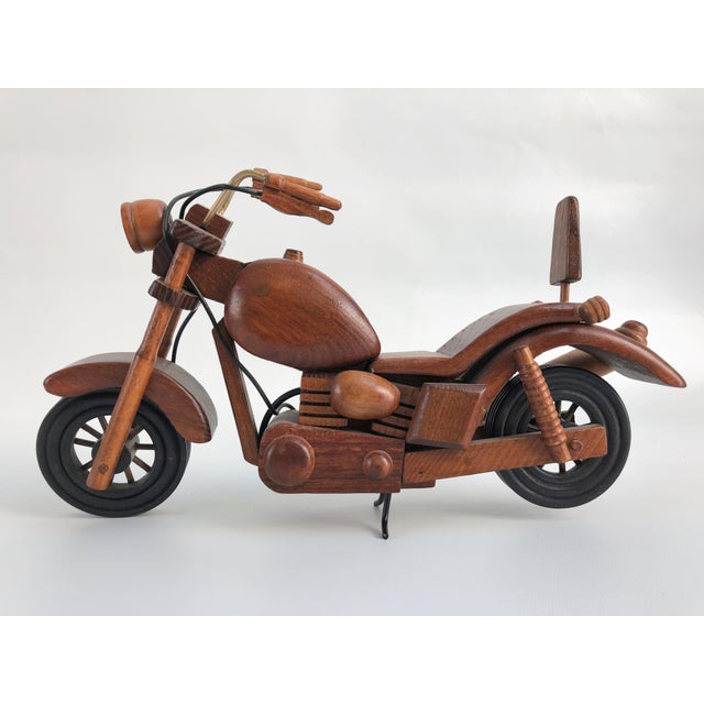Wood Vintage Motorcycle Wood Model Sculpture For Sale - Image 7 of 8