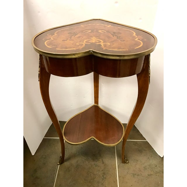 1950s Italian Marquetry Inlaid Heart Shaped End Table For Sale - Image 12 of 12