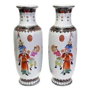 1930s Fine Republic Period Chinese Porcelain Processional Vases - a Pair For Sale