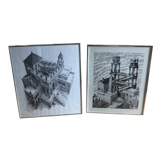 Minimalist Prints With Chrome Frames by M.C Escher - a Pair For Sale