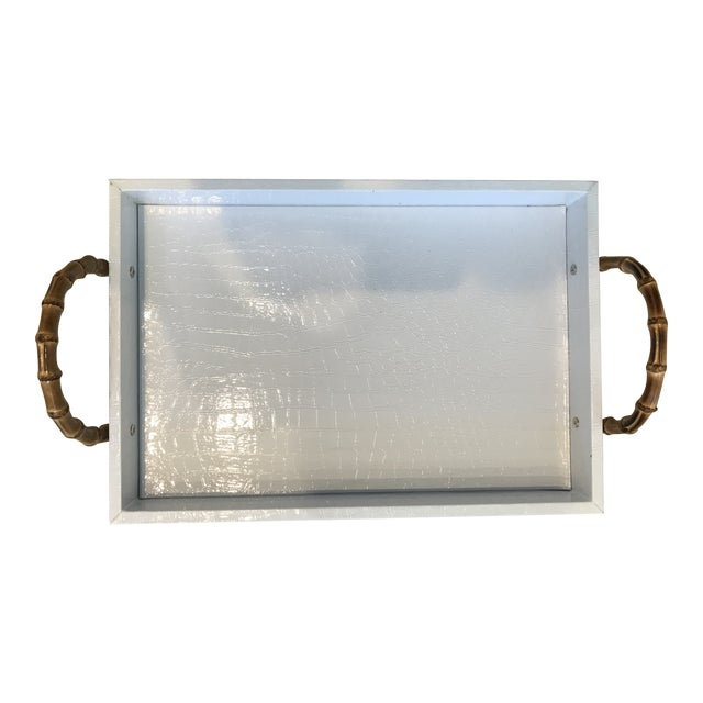 Small White Faux Leather Crocodile Texture Tray With Bamboo Handles For Sale