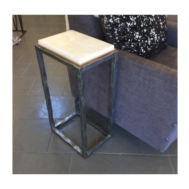 Contemporary Modern Marble & Metal Sculpture Table For Sale - Image 3 of 5