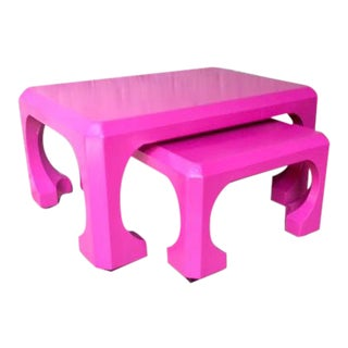 Late 20th Century Bert England for Baker Pink Asian Modern Stacking Tables - a Pair