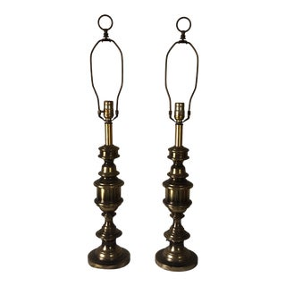 Vintage Leviton Brass Table Lamps - a Pair For Sale