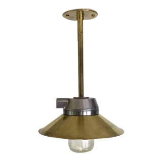 Polished Aluminum Pendant Ceiling Light With Brass Shade For Sale
