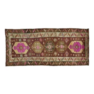 Vintage Brown Turkish Area Rug 6' X 13' For Sale