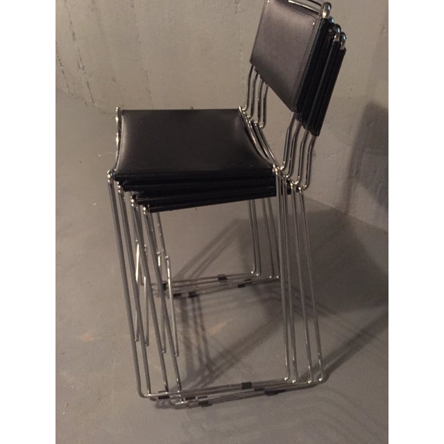 Design Within Reach Italian Leather Chrome Bar Stools - Set of 4 - Image 4 of 4