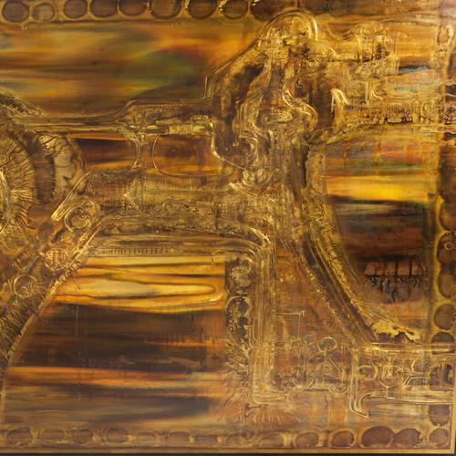 1970s LARGE ACID-ETCHED AND OXIDIZED BRASS PANEL BY BERNHARD ROHNE For Sale - Image 5 of 7