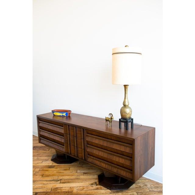 Brutalist Mid-Century Walnut Credenza Dresser - Image 7 of 7