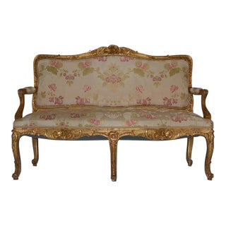 Louis XV Style Giltwood Antique Settee, 19th Century For Sale