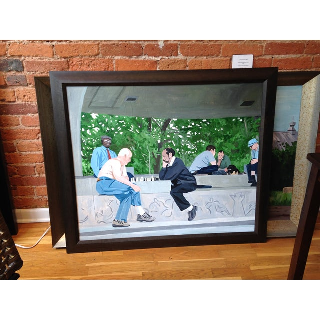 This is for the original acrylic on canvas painting. Really nice, dark, mahogany wood frame. With the frame it measures...