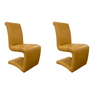 Vintage 1970's Gold Leather Chairs - a Pair