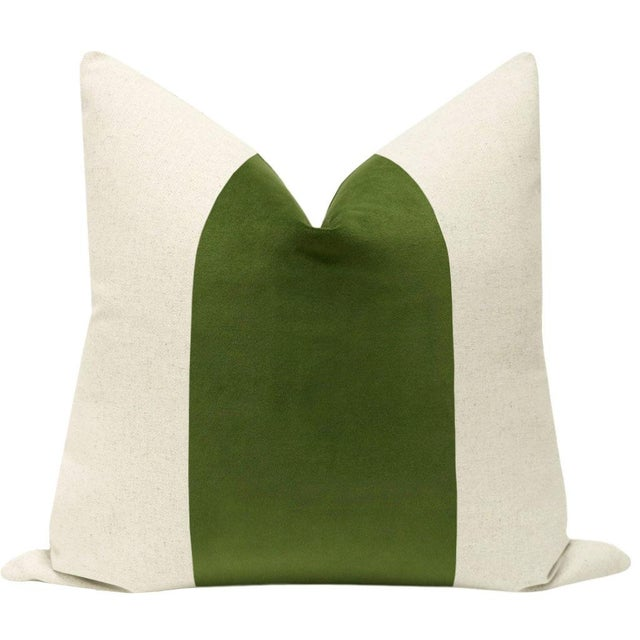 "Pair of beautiful 22"" natural linen pillows with a peridot green velvet center and solid natural linen reverse...."