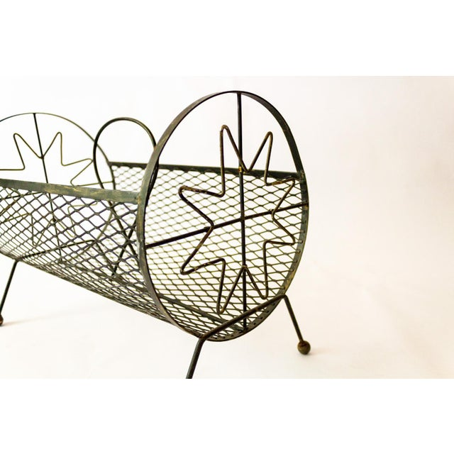 1950s Mid-Century Modern Round Metal Magazine Rack For Sale In Dallas - Image 6 of 8