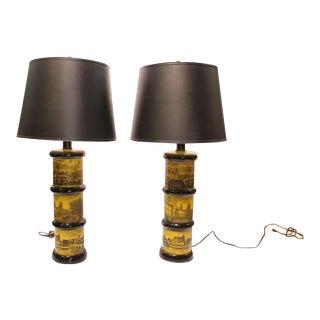 Vintage Églomisé Glass Table Lamps - a Pair For Sale
