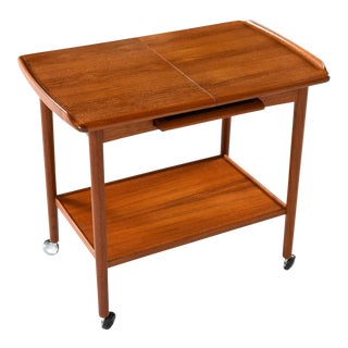 Danish Teak Expandable Bar Cart by Dyrlund For Sale