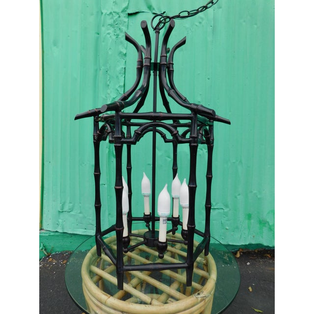 Metal Pagoda Faux Bamboo Chandelier For Sale - Image 7 of 8