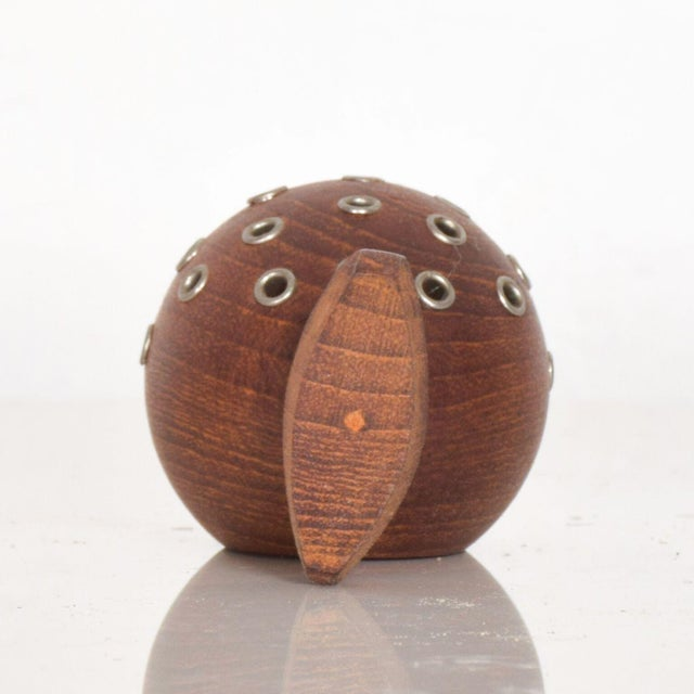 Wood Puffer Fish Toothpick Holder Appetizer Server in Solid Teak Denmark For Sale - Image 7 of 8