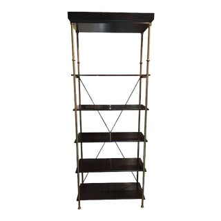 Antique Brass Mahogany Contrast Bookcase For Sale
