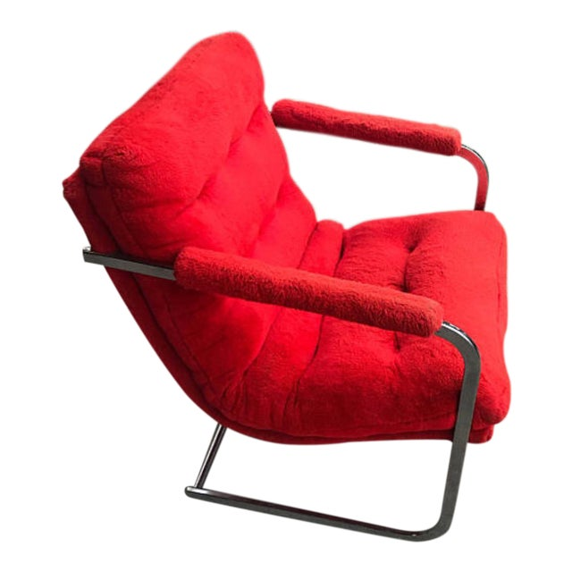 Carson's Mid-Century Red Fur Cantilevered Chair For Sale