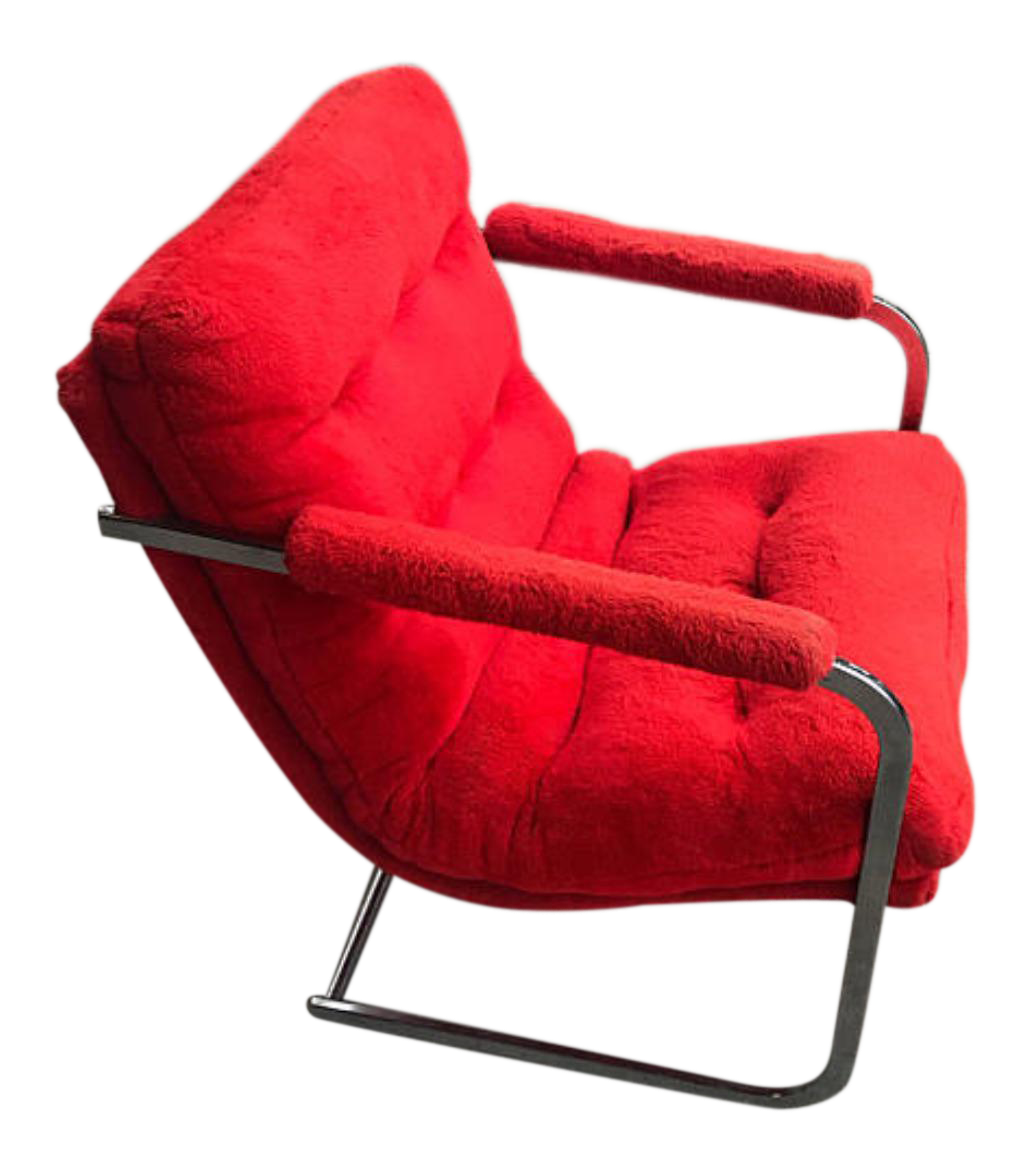 Carsonu0027s Mid Century Red Fur Cantilevered Chair