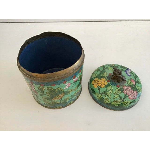 Mid 19th Century Green Cloisonné Covered Jar For Sale In West Palm - Image 6 of 8