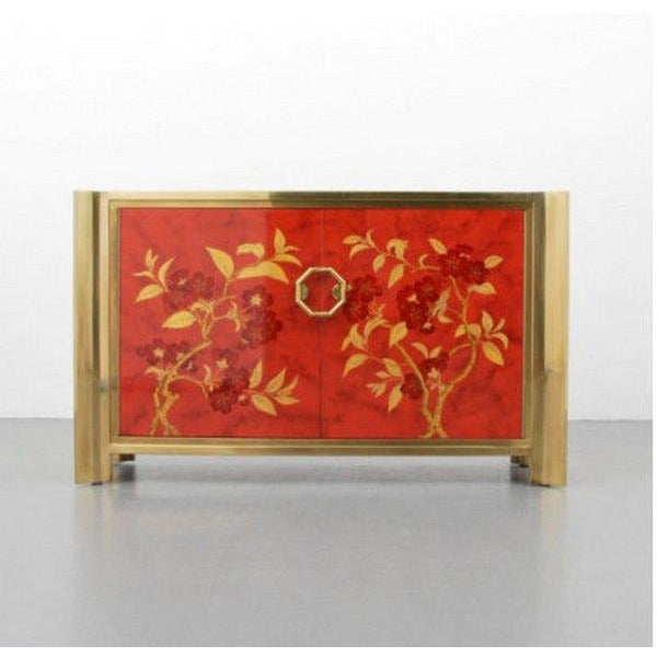 Mastercraft Chinoiserie Style Faux Tortoise Commode With Red Lacquer Interior For Sale - Image 9 of 9