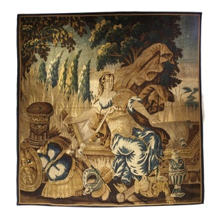 Antique Aubusson Tapestry From the Late 1600's, Goddess Pax or Eirene For Sale