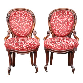 Antique Victorian Red Velvet Floral Accent Chairs - a Pair For Sale