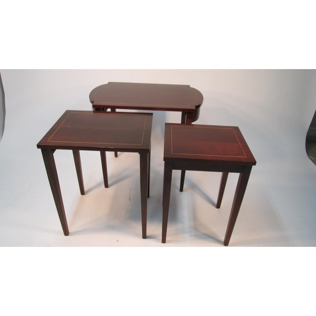 1960s Georgian Mahogany Nesting Tables - Set of 3 For Sale - Image 4 of 10