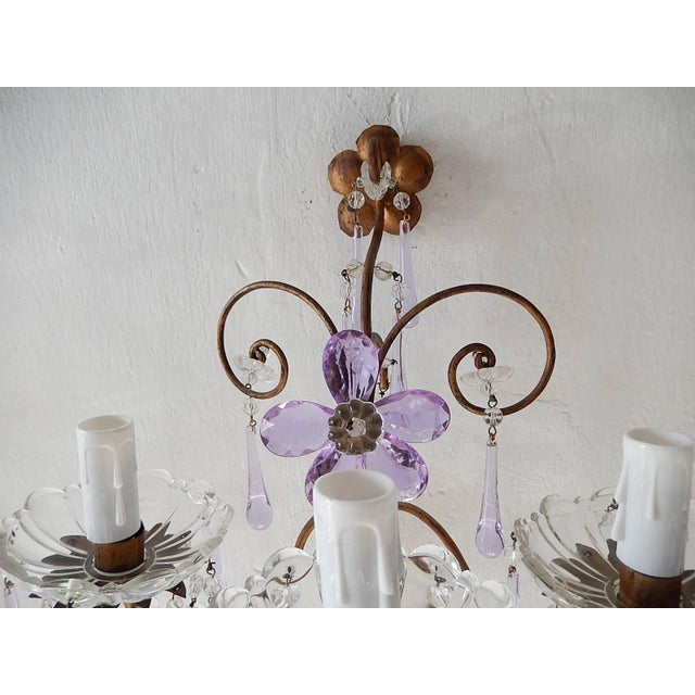 French French Murano Drops Lavender Crystal Flowers Three-Light Sconces, circa 1920 For Sale - Image 3 of 10
