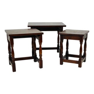 English Vintage Oak Nesting Tables For Sale