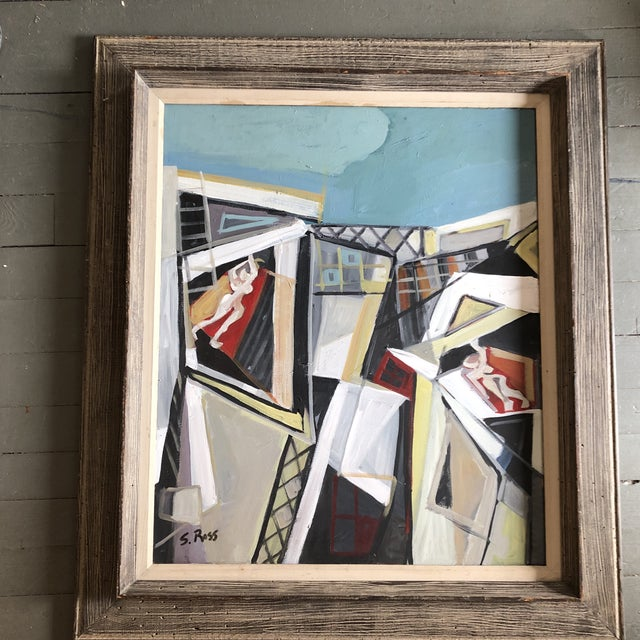 Original Contemporary Stewart Ross Modernist Roof Top Abstract Large Painting Vintage Modernist Frame For Sale In Philadelphia - Image 6 of 6