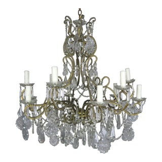1930s Vintage 10-Light French Louis XV Style Crystal Beaded Chandelier For Sale