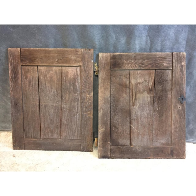 Brown Vintage Rustic Wood Cabinet Doors - A Pair For Sale - Image 8 of 11