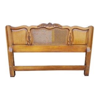 Stratford House French Provincial Queen / Full Size Caned Back Cherry Headboard 1960s For Sale