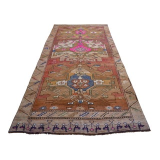 Hand Knotted Kurdish Tribal Rug Low Pile Pink Rug- 6′9 X 13′9″ For Sale