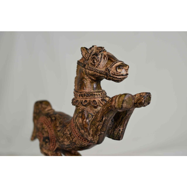 Vintage Decorative Samurai Horse Figures on Lacquered Bases - a Pair For Sale - Image 4 of 13