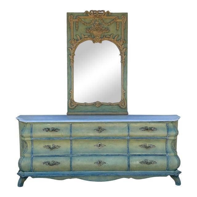 Maslow Freen New York Design Marble Top Dresser & Mirror For Sale