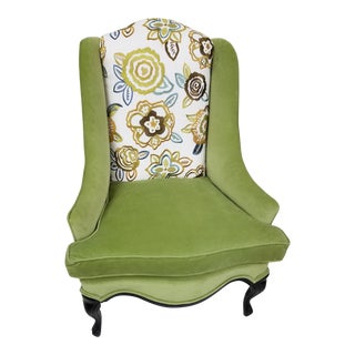 1950s Traditional Embroidered Floral Wingback Chair