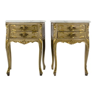 Early 20th Century Antique French Louis XV Style Nightstands - A Pair For Sale