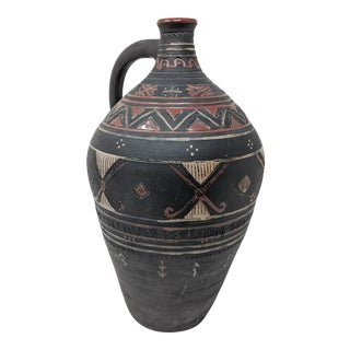 Antique Handmade Handled Ceramic Vase For Sale