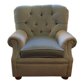 Blue Velvet Tufted Armchair For Sale