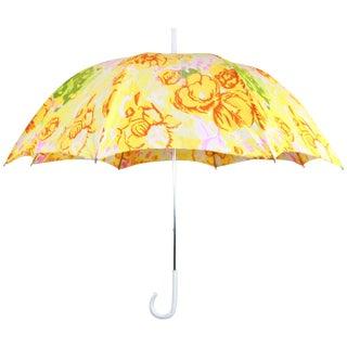 Vintage Floral Italian Handle Umbrella For Sale