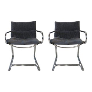1970s Chrome and Upholstered Armchairs - A Pair For Sale