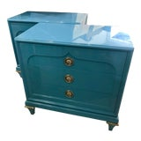 Image of 1970s Mid-Century Modern Mastercraft Sky Blue Chests - a Pair For Sale