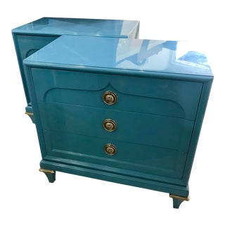 1970s Mid-Century Modern Mastercraft Sky Blue Chests - a Pair For Sale